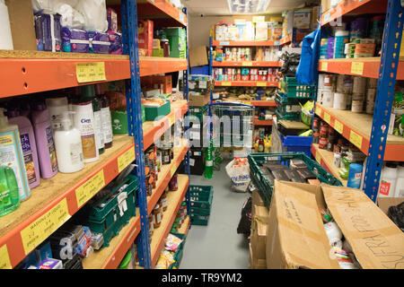 The shelves of a food bank in London - Stock Image