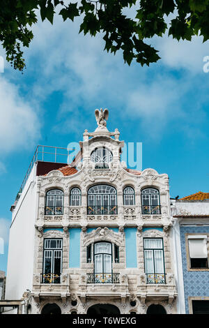 Aveiro, Portugal - April 29, 2019: View on the beautiful old facades buildings in Art Nouveau architectural style in Aveiro city in Portugal - Stock Image