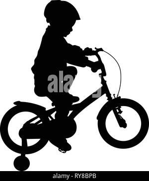 toddler boy riding bicycle high quality silhouette - vector - Stock Image