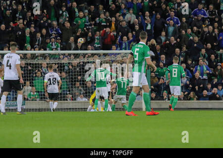 Belfast, UK. 21st Mar 2019. National Football Stadium at Windsor Park, Belfast, Northern Ireland. 21 March 2019. UEFA EURO 2020 Qualifier- Northern Ireland v Estonia. Action from tonight's game. Paddy McNair (17) heads over. Credit: David Hunter/Alamy Live News. - Stock Image