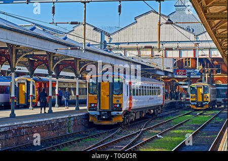 Passenger trains in the station at Norwich, Norfolk - Stock Image