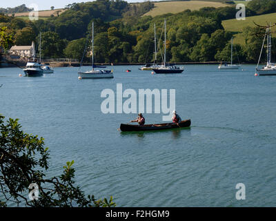 Canoeists on the River Yealm, Devon, UK - Stock Image