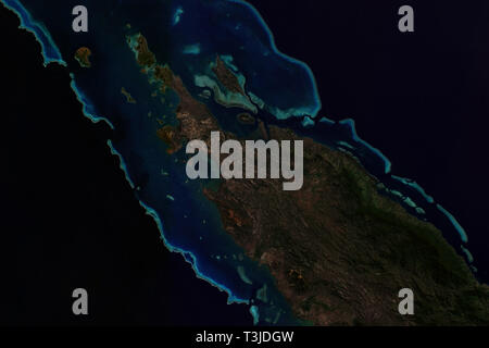 New Caledonian Barrier Reef in the Pacific seen from space - contains modified Copernicus Sentinel Data (2019) - Stock Image