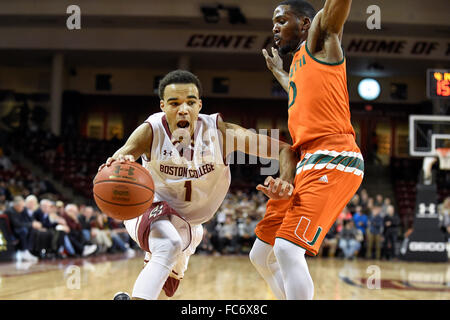 Chestnut Hill, Massachusetts, USA. 20th January, 2016. Boston College Eagles guard Jerome Robinson (1) works against - Stock Image
