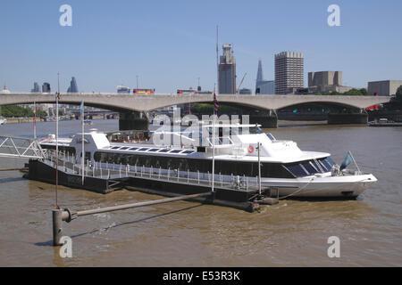 Silver Sturgeon restaurant cruiser Victoria Embankment London - Stock Image