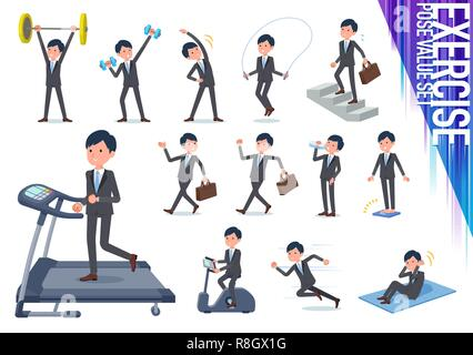A set of businessman on exercise and sports.There are various actions to move the body healthy.It's vector art so it's easy to edit. - Stock Image