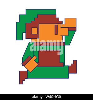 Videogame pixelated elf character isolated blue lines - Stock Image