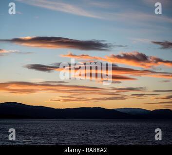 Sunset near Nesna, Norway. - Stock Image