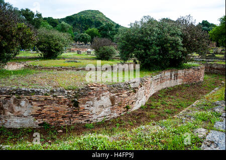 Olympia, Greece. The site of the Olympic Games in classical times. The Leonidaion was a lodging place for athletes. - Stock Image