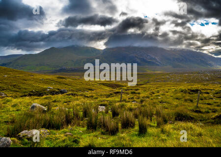 Highland Landscape With Cloudy Mountains Near Durness In Scotland - Stock Image