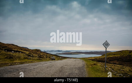 Passing place on single track road, Brae of Achnahaird, west coast of Scotland. - Stock Image
