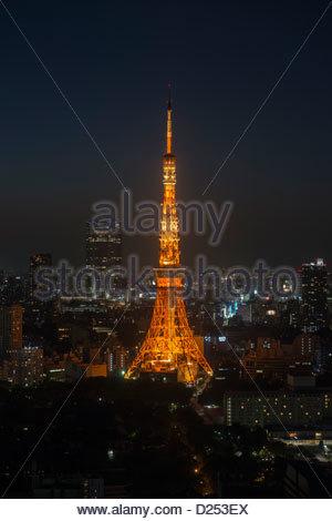 Tokyo Tower and Tokyo skyline at dusk Tokyo Japan - Stock Image