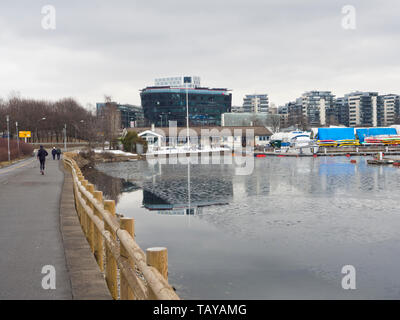 Bestumkilen Oslo Norway, promenade along the Oslo fjord with views of the marina and new residential and commercial buildings in Sjølyst - Stock Image