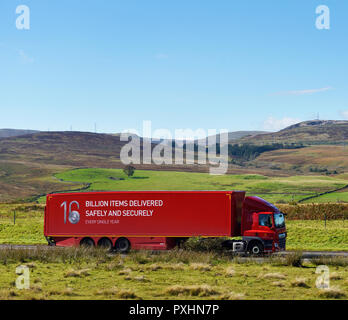 16 Billion Items Delivered Safely and Securely Every Single Year. Royal Mail HGV. M6 Northbound carriageway, Shap, Cumbria, England, United Kingdom, E - Stock Image