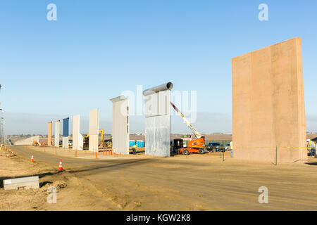 Trump administration new US-Mexico border wall prototypes are unveiled in October 2017. Eight different prototype - Stock Image