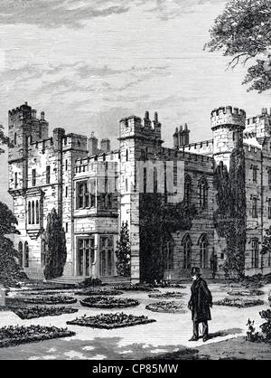 New Hawarden Castle, Hawarden, Flintshire, Wales, England, the estate of former British Prime Minister William Ewart - Stock Image