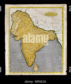 1804 Arrowsmith Map India Bombay Calcutta Bengal Pakistan Kashmir Nepal Tibet - Stock Image