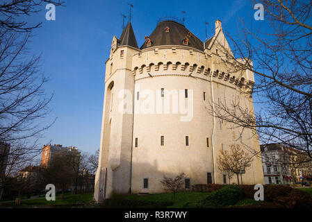 Belgium, Brussels. Maroles Area, Porte de Hal, 14th century fortress wall tower - Stock Image