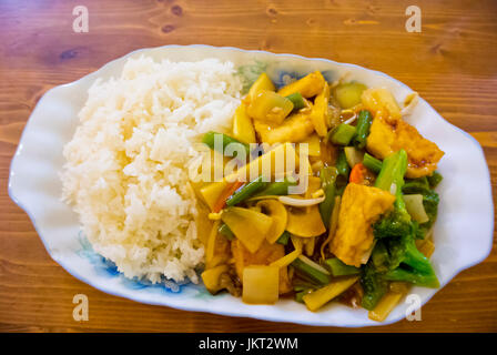 Tofu with vegetables and rice, Pho Viet, vietnamese restaurant in Palac Metro building, new town, Prague, Czech - Stock Image