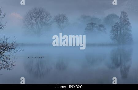 Mist on  Grasmere, Lake District, Cumbria - Stock Image