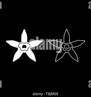 Vanilla flower icon outline set white color vector illustration flat style simple image - Stock Image
