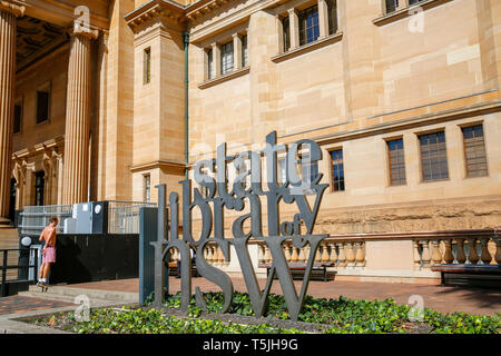 State library of NSW building constructed of stone on macquarie street in Sydney city centre,New South Wales,Australia - Stock Image