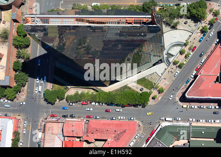Aerial view of 11 Diagonal street, an iconic high-rise building, central business district, Johannesburg, South Africa - Stock Image