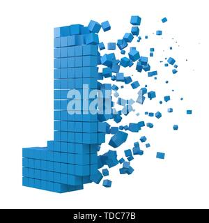 letter J shaped data block. version with blue cubes. 3d pixel style vector illustration. suitable for blockchain, technology, computer and abstract th - Stock Image