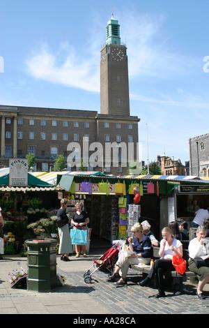 Norwich City Hall and Market Place Norwich Norfolk UK - Stock Image