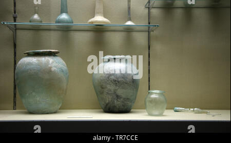 Roman glass.. Archaeological Museum of Seville. Andalusia. Spain. - Stock Image