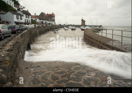 High spring tide at Lynton harbour on the North Devon coast, England, United Kingdom - Stock Image