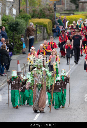 The Green Man Festival 2019,  held in the village of Clun inn Shropshire England. The festival has Pagan origins relating to the changing seasons. - Stock Image