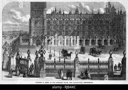 Cloisters surrounding New Palace Yard in the rebuilt Houses of Parliament. - Stock Image