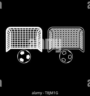 Soccer ball and gate Penalty concept Goal aspiration Big football goalpost icon outline set white color vector illustration flat style simple image - Stock Image
