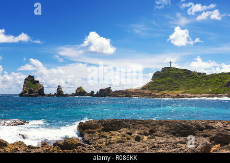 La Pointe des Chateaux (Castles headland) is a peninsula that extends into the Atlantic Ocean from the Eastern coast of the island of Grande-Terre, in - Stock Image