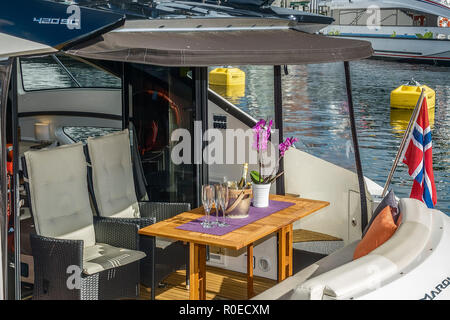 Boat In The Harbour, Stavanger Norway - Stock Image