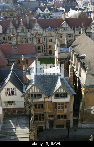 Aerial View of Oxford from St Mary's Church Tower, Oxford, Oxfordshire, UK. - Stock Image