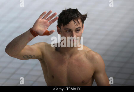 Great Britain's Thomas Daley reacts after he wins a bronze medal in the 10m Platform during day three of the Diving World Series at London Aquatics Centre, London. - Stock Image