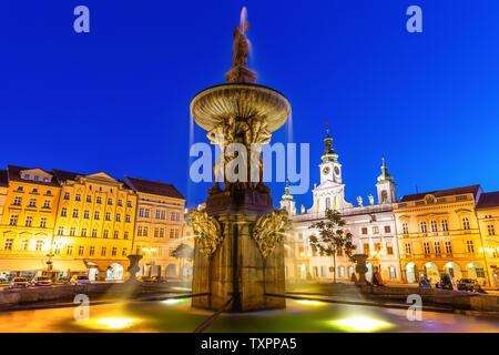 Historic center of Ceske Budejovice at night, Budweis, Budvar, South Bohemia, Czech Republic, Europe. - Stock Image