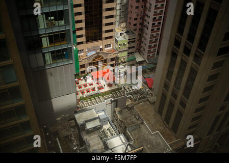 View of below from top of the Times Square shopping centre in Causeway Bay, Hong Kong - Stock Image