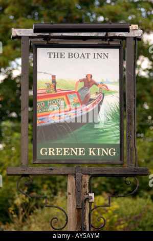 Doug Blane The Boat Inn Green Kning Public house sign near Banbury Oxford Canal Cylgate Hone - Stock Image