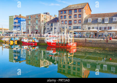 9 June 2018: Plymouth, Devon, UK - Plymouth Barbican and Sutton Pool. - Stock Image