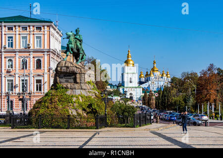Bogdan Khmelnytsky monument in Sofia area Kiev, Ukraine 06 11 2018 - Stock Image