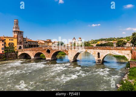 Ponte Pietra across the River Adige in Verona, Italy - Stock Image