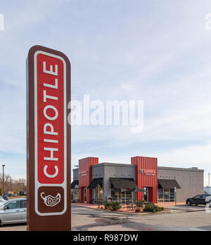 HICKORY, NC, USA-12-19-18: One of more than 2000 Chipotle Mexican Grills in the U.S., U.K., Canada, Germany and France. - Stock Image