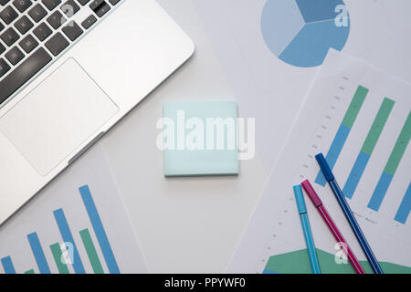 Office Desk. Blank adhesive notes. Top view. Business concept - Stock Image