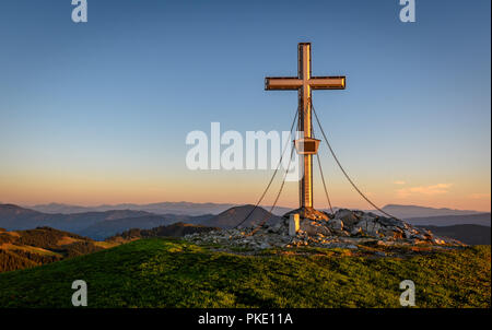 summit cross in the morning - Stock Image