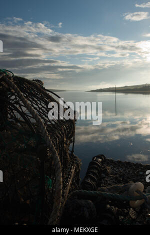 Lobster Pots by the Coast - Stock Image
