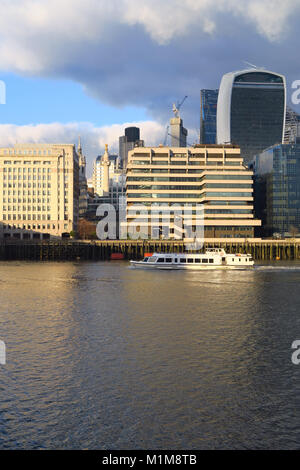 City of London skyline showing the Old Billingsgate fish market, St Magnus the Martyr Church taken from Queen's - Stock Image