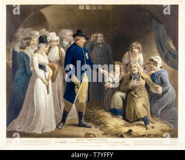 George III and the royal family visit Dorchester prison, Royal Beneficence, print, 1793 - Stock Image